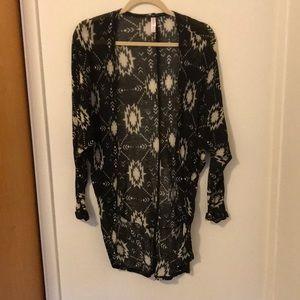 Sheer long patterned cardigan!