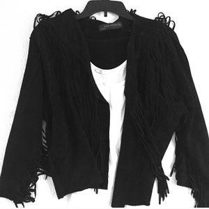Black Suede Fringe Zara Jacket