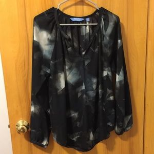 Simply Vera Vera Wang Black/Gray Multi Top Sz L
