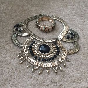 H&M Statement Necklace & Tiger Statement Bracelet