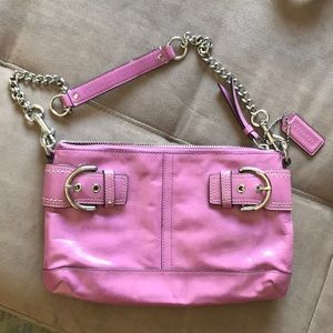 """Pink Coach bag. 11"""" long and 7.5 inches tall"""