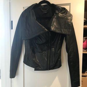 Muubaa Genuine Leather drape zip jacket with rib