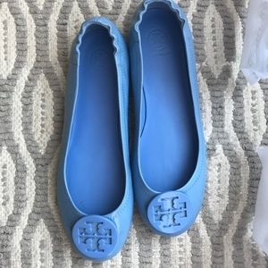Tory Burch blue leather flats!