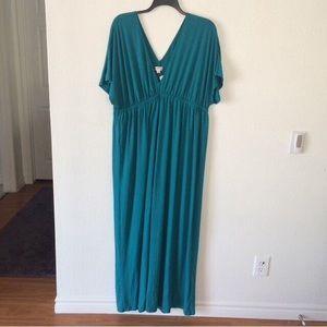 Merona green v-neck maxi dress plus 2X