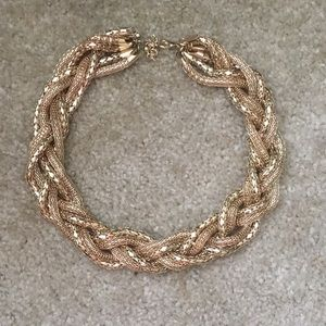 H&M Gold Braided Statement Necklace