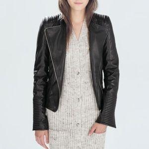 ZARA TRF Quilted Vegan Leather Moto Jacket