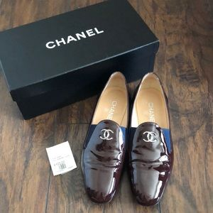 Chanel Patent Leather Brown/Blue Loafers