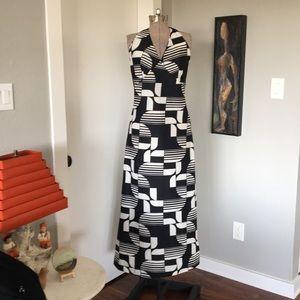 Vintage 70's Geometric Print Handmade Dress