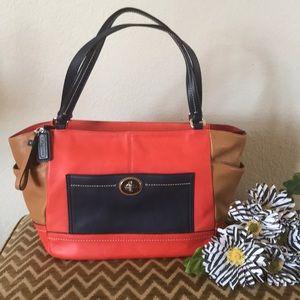 Coach color block satchel