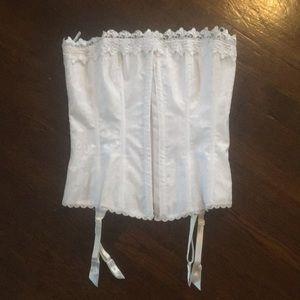 Frederick's of Hollywood white satin corset