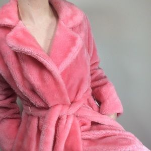Vintage Pink Fuzzy Robe with Matching Belt