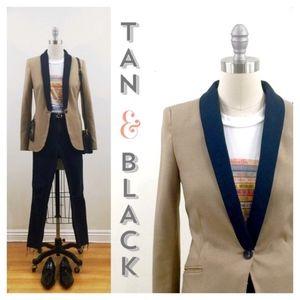 Zara Tan Tuxedo Blazer Sz M