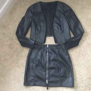 H&M Collarless Faux Leather Jacket