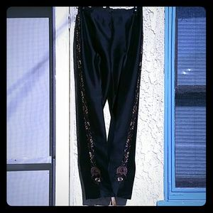 Black silk pants, lined, with beaded embroidery