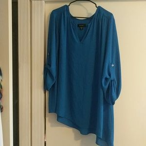 Teal Asymmetrical Hem 3/4 Sleeve Tunic