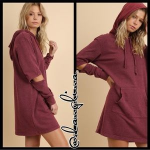 LAST ONE SIZE LARGE cozy long sleeve hooded dress