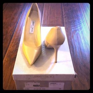 "Jimmy Choo nude ""Abel"" leather pumps size 38"
