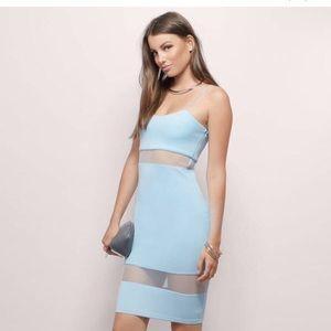 Tobi Light Baby Blue Sheer Mesh Bodycon Midi dress