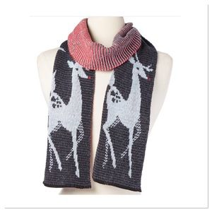 Charcoal and Red Deer Scarf