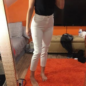 Zara high waisted crop ripped jeans Denim