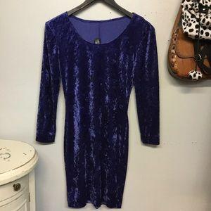 Vintage Royal Blue Velvet Long Sleeve Mini Dress