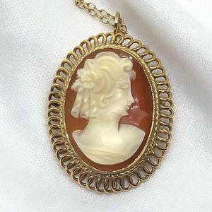 Vintage Bojar Gold-Filled Shell Cameo Necklace