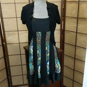TANGO MANGO NWT multi print flare dress sz L