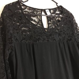 Lace trimmed black long sleeve. For holidays!