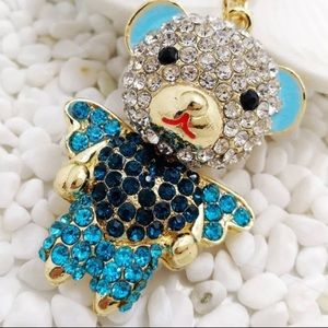 Blue rhinestone Teddy badge reel
