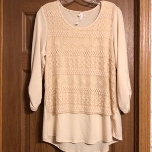 Cream Top with lace overlay