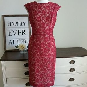 Red lace over nude lining fitted sheath dress