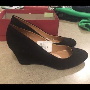 Merona Black Suede Wedge Heels