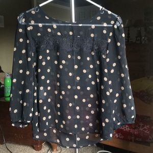 Black and Tan Polka Dot Sheer Blouse