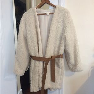 White shearling coat with removable belt
