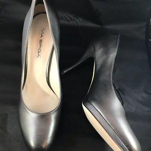 Via Spiga Silver leather heels