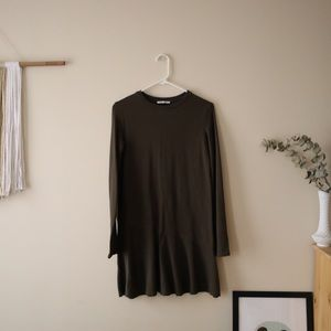 Long Sleeve Olive Green Shift Dress