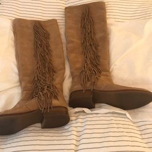 Sam Edelman Suede Over The Knee Fringe Boots 😀