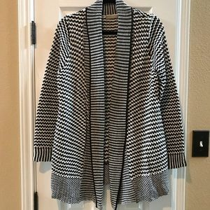 NWOT NY Collection blk/white long cardigan size lg