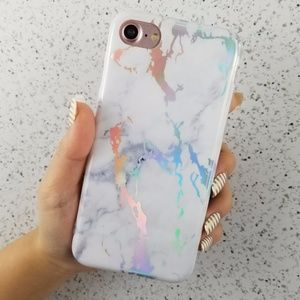 Accessories - iiPhone White Holographic Marble Case
