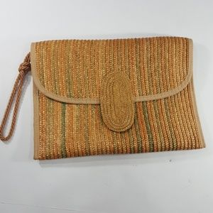 Vintage RONORA Straw Envelope clutch wristlet