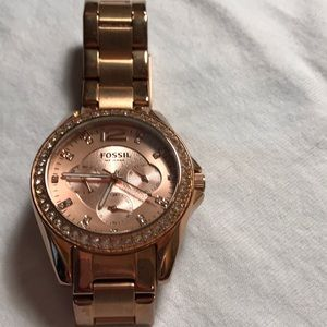 Fossil Rose Gold watch with crystals