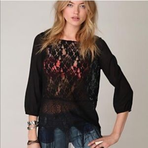 Free people fringe and lace top