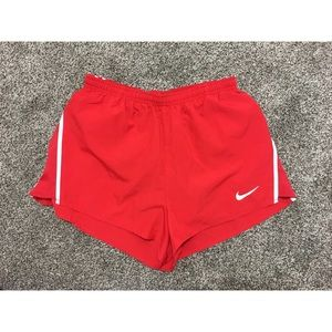 Nike Red Shorts With An Open Slit On the Sides