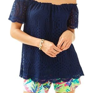 Lilly Pulitzer Navy Marble Off The Shoulder Top S