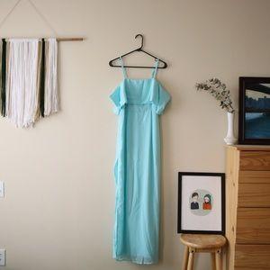 Baby Blue Off-the-Shoulder Maxi Dress (Side Slit)