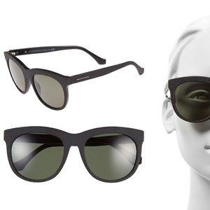 BALENCIAGA grey pebbled Sunglasses