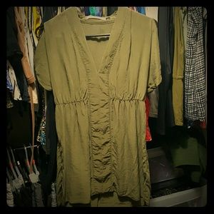Olive Drab Old Navy Silk Blouse