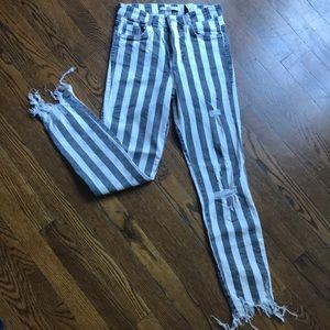 NWOT Striped stretch frayed denim jeans