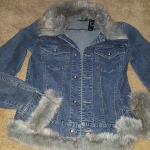 DKNY jeans size small denim jacket with faux fur