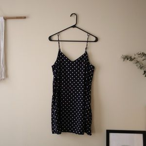 Silky Navy Blue Polka Dot Sip Dress (with pockets)